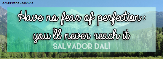 Have no fear of perfection: you'll never reach it - SALVADOR DALÍ